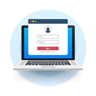 Войдите в учетную запись, авторизацию пользователя, концепцию страницы авторизации входа. ноутбук с логином и паролем формы на экране. иллюстрация запаса.