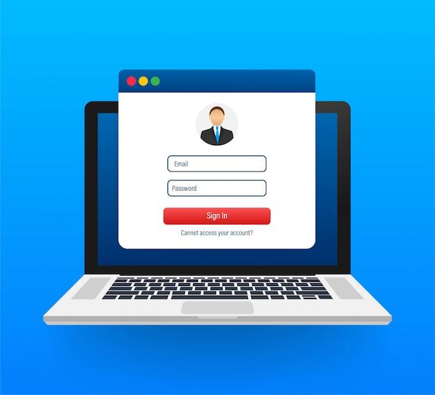 アカウント、ユーザー認証、ログイン認証ページの概念にサインインします。画面にログインとパスワードのフォームページが表示されたラップトップ。ストックイラスト。