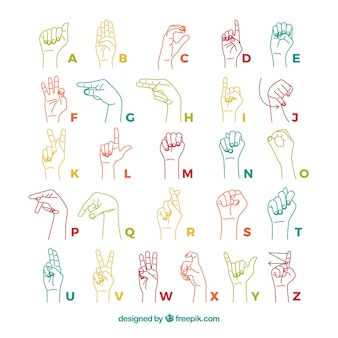 Sign language alphabet in hand drawn style