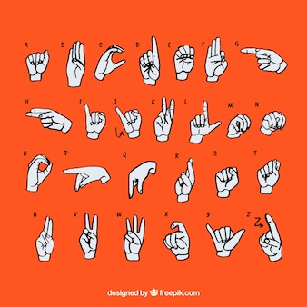 Sign language alphabet in hand drawn style Vector | Free Download
