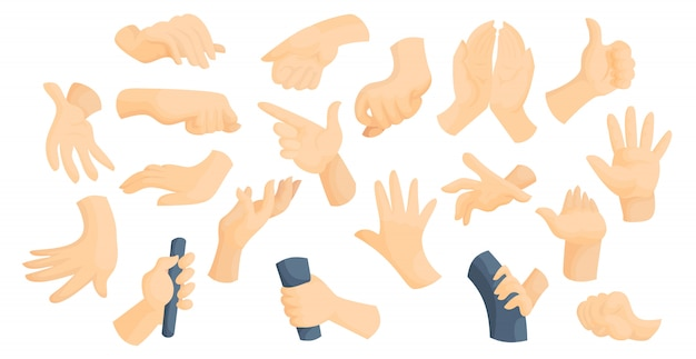 Sign language idea flat hands gestures vector illustration set