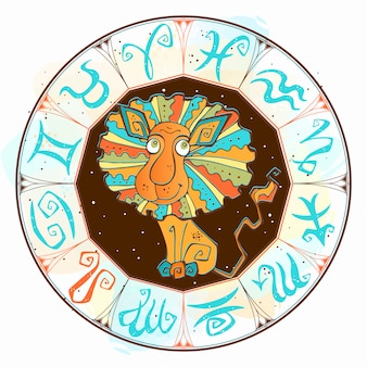Sign leo in the zodiac circle.