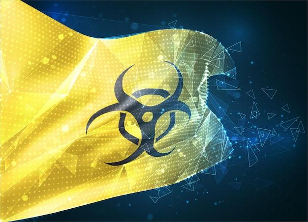 파란색 배경의 삼각형 다각형에서 벡터 플래그 가상 추상 3d 개체의 노란색 배경에 바이러스 및 박테리아 위험 표시