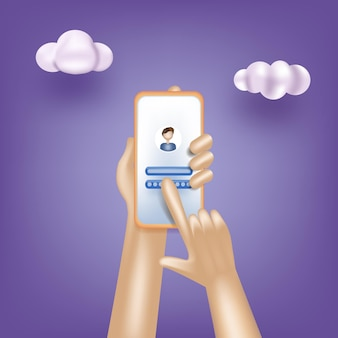 Sign in to online account on smartphone app secure login and password d vector illustrations