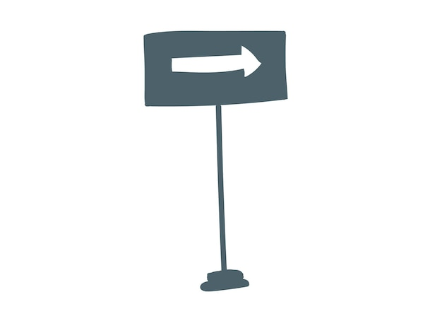 The sign on the pillar is an arrow white to the right hand drawing cartoon vector illustration