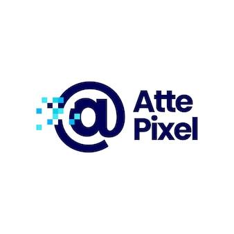 At sign pixel mark digital 8 bit logo vector icon illustration