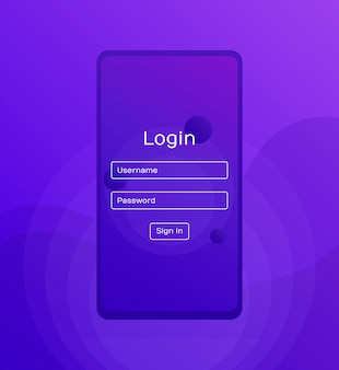 Sign in screen. clean mobile ui  . login application with password form window. trendy holographic gradients shapes. flat web icons. modern flat style illustration
