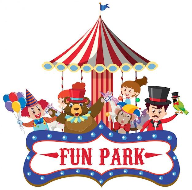 楽しいサーカスの動物公園のサインテンプレート