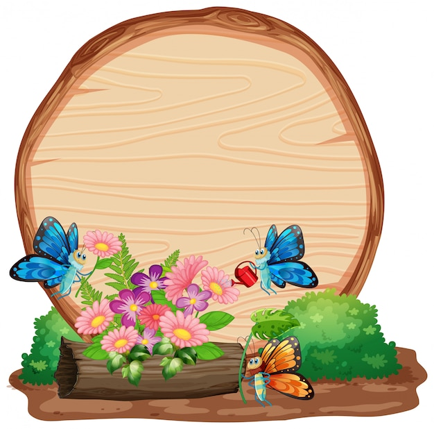 Sign template with animals in garden background