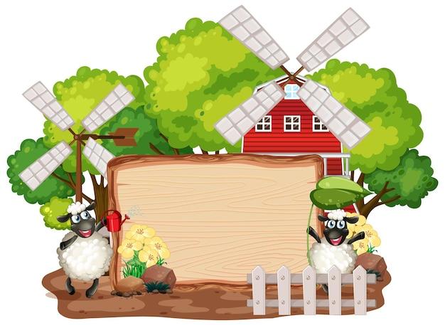 Знак шаблон с животными на фоне сада