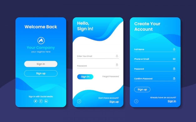 Sign in ui kit or login page design template premium