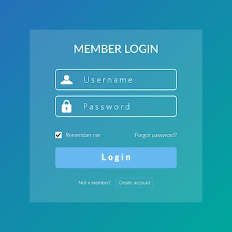Sign in ui and ux for web log in vector design template