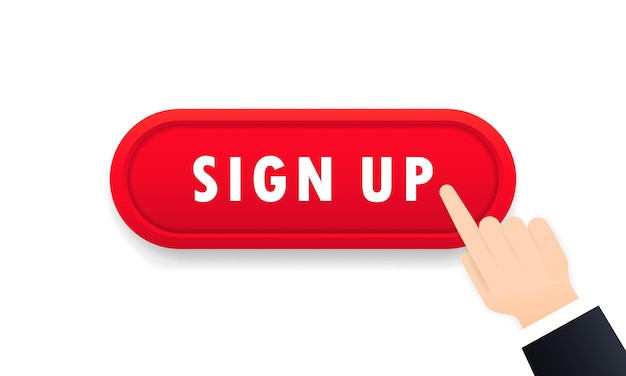 Sign up button. registration concept. social media. vector on isolated white background. eps 10.