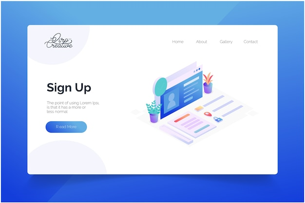 Sign up concept landing page template