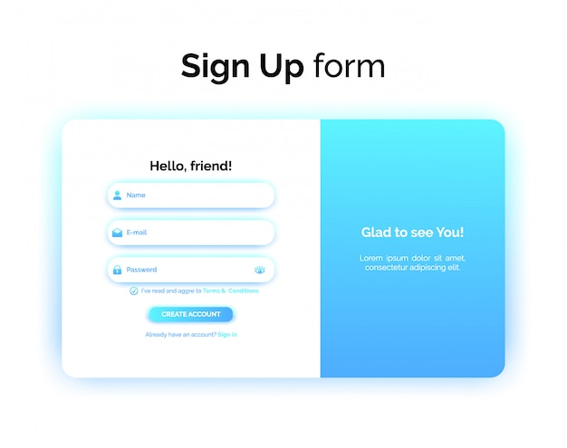 Sign up form, web design, ui ux registration interface with gradient