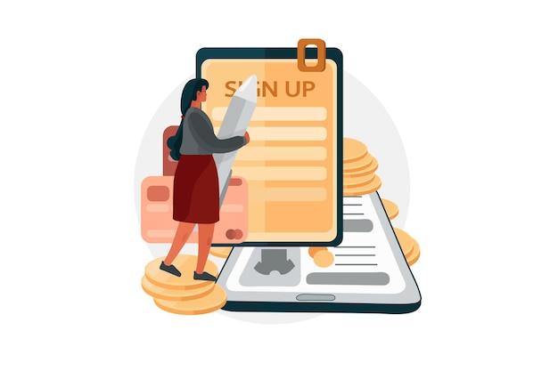 Зарегистрируйтесь или зарегистрируйтесь в приложении для электронных платежей иллюстрация