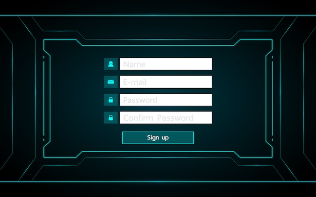 Sign up ui design on technology futuristic interface hud background.
