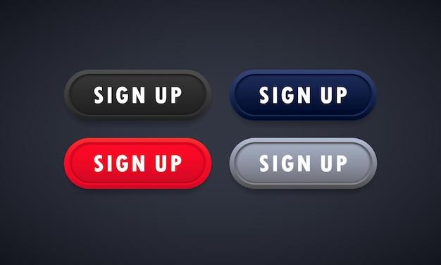 Sign up web button or register. social media concept.