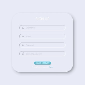 Sign up window box interface template. vector illustration