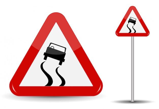 Знак предупреждение скользкая дорога. в red triangle есть отрывочная машина, которая заносила. иллюстрация.