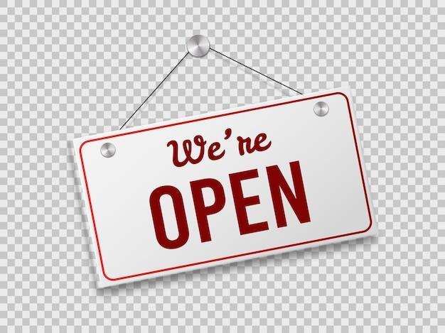 로그인 우리는 열려 있습니다. 문이나 벽에 걸려 있는 빈티지 포스터, 상점, 시장 또는 슈퍼마켓을 위한 복고풍 스티커. 투명 한 배경에 고립 된 벡터 현실적인 배너