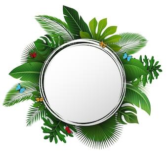 Знак с текстовым пространством тропических листьев и бабочек