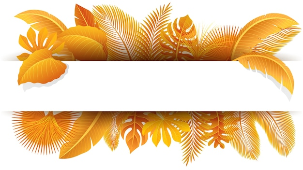 Sign with text space of yellow tropical leaves
