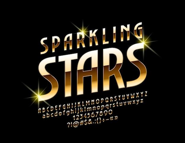 Подпишите с текстом сверкающие звезды. шикарный яркий шрифт. роскошные буквы, цифры и символы