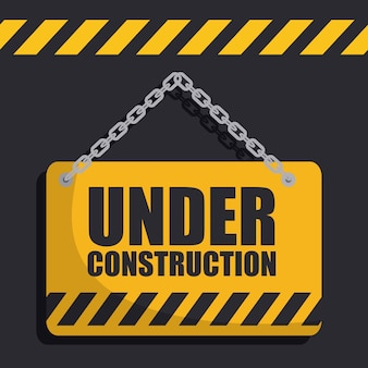 Sign with under construction phrase icon