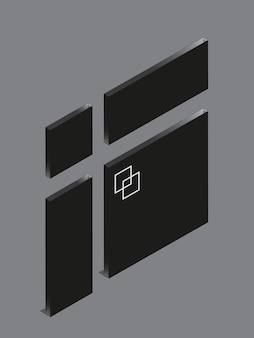 회색 배경에 간판 디자인 아크릴 검정