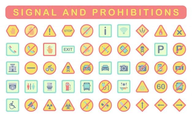信号と禁止事項、フラットスタイル