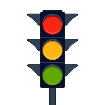 Signal electric traffic light on road, stoplight. direction, control, regulation transport and pedestrian.  illustration