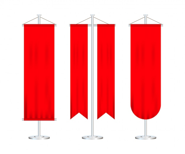 Signal red long sport advertising pennants banners samples on pole stand support pedestal realistic set.