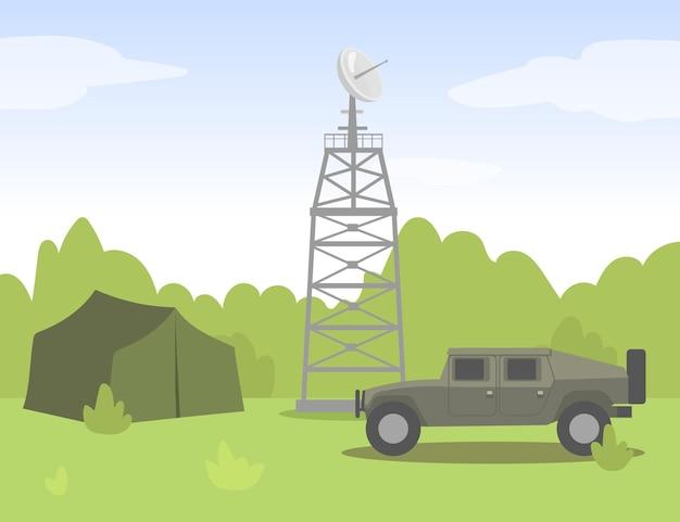軍事キャンプの信号送電塔。車、テント、森の平らなイラスト