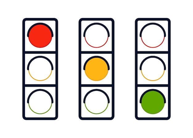 Signal wait traffic light on road signal stoplight icon outline direction control regulation