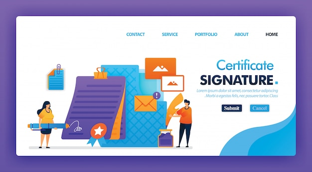 Signature certificate concept design for landing page.