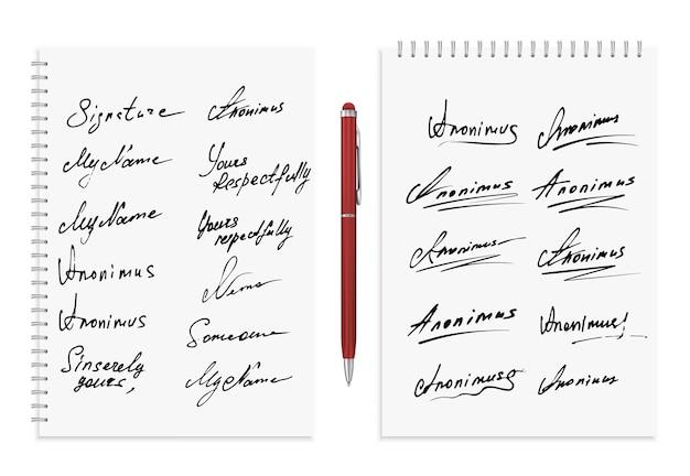Коллекция подписей.
