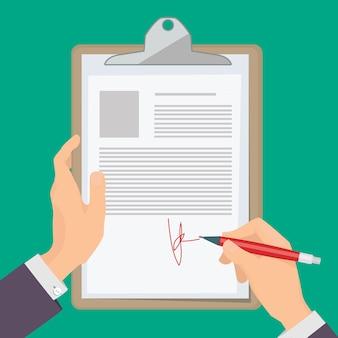 署名文書。ペンを持って紙のイラストの概念に文書を書くビジネスパーソン。