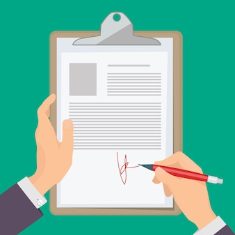 Signature documents. business person hand holding pen and writing documents on paper illustration concept.