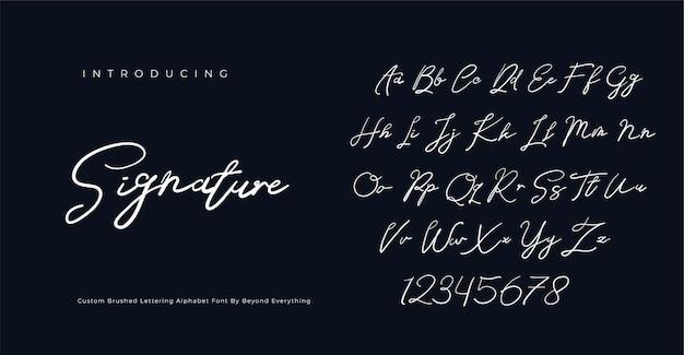 서명 글꼴 스크립트 브러시 알파벳