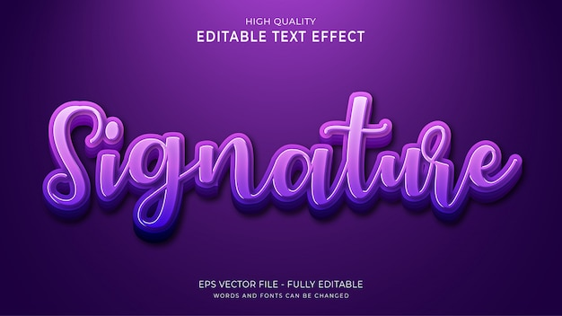 Signature text, editable font effect.