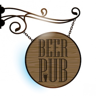 The signboard of beer pub. wooden surface texture.