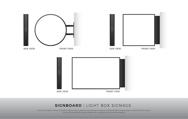 Signboard blank round, square, rectangle lightbox signage