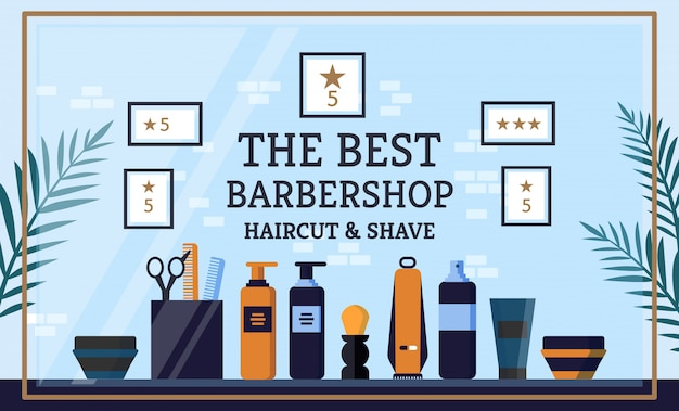 看板碑文最高の理髪店、レタリング。