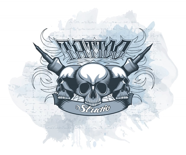 Signboard tattoo studio with skulls in the center on a watercolor background.