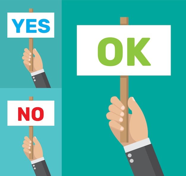 Signboard with the word yes no and ok.