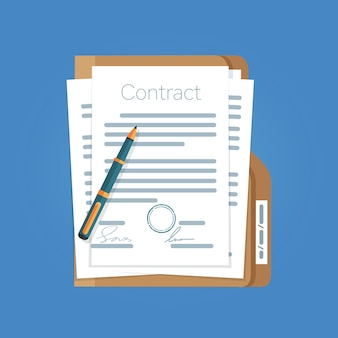 Signed paper deal contract icon agreement pen on desk