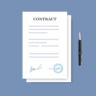Signed paper deal contract icon. agreement and pen isolated on the blue background.