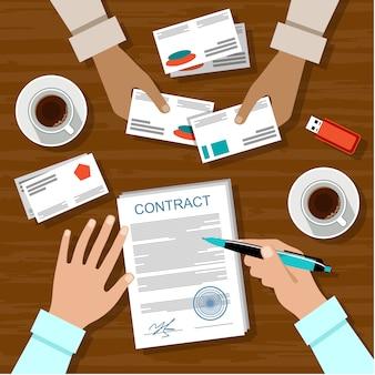 契約に署名する。ビジネスミーティング。
