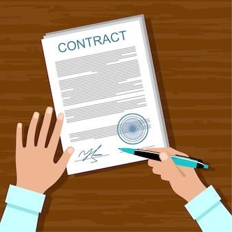 Подписание договора. деловая встреча. Premium векторы